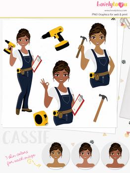 Woman diy character clipart, construction girl avatar clip art (Cassie L276)