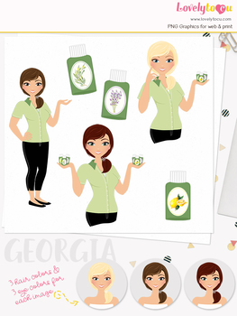 Woman essential oil character clipart, aromatherapy girl clip art (Georgia L127)