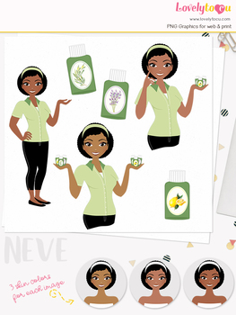 Woman essential oil character clipart, aromatherapy girl clip art (Neve L128)