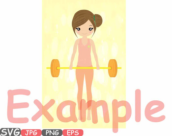Woman exercising Fitness and Health clipart Exercise Weights workout gym -600A