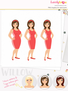 Woman fitness character clipart, girl avatar weight loss clip art (Olivia L087)