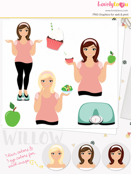 Woman fitness character clipart, girl avatar weight loss clip art (Olivia L091)