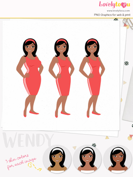 Woman fitness character clipart, girl avatar weight loss clip art (Oona L088)