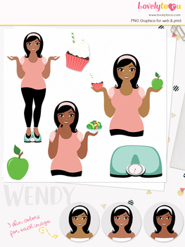 Woman fitness character clipart, girl avatar weight loss clip art (Oona L092)