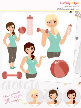 Woman fitness character clipart, girl avatar workout clip art (Georgia L083)