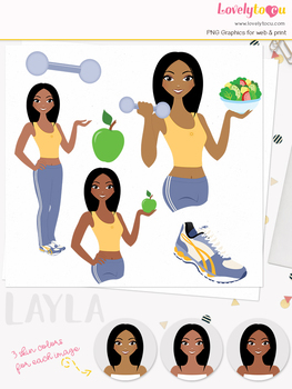 Woman fitness character clipart, girl avatar workout clip art (Layla L086)