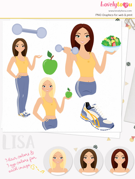 Woman fitness character clipart, girl avatar workout clip art (Lisa L085)