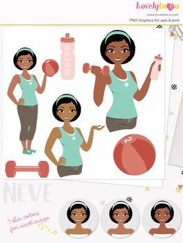 Woman fitness character clipart, girl avatar workout clip art (Neve L084)