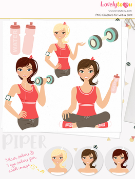 Woman fitness character clipart, girl avatar workout clip art (Piper L081)
