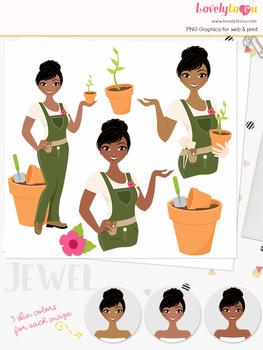 Woman gardening character clipart, plant girl avatar clip art (Cassie L290)