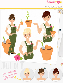 Woman gardening character clipart, plant girl clip art (Carly L289)