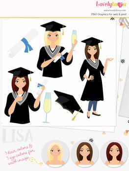 Woman grad character clipart, student girl clip art (Lisa L267)
