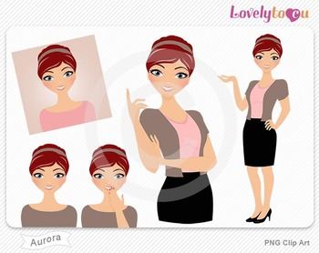 Woman graphics character pack set PNG clip art (Aurora R01)