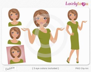 Woman graphics character pack set PNG clip art (Debbie R07)