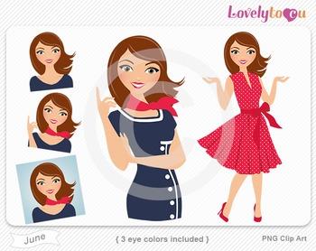 Woman graphics character pack set PNG clip art (June R05)
