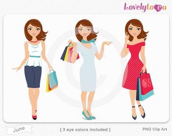 Woman graphics character pack set PNG clip art (June R06)