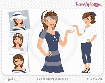 Woman graphics character pack set PNG clip art (Sally R03)