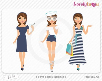 Woman graphics character pack set PNG clip art (Sally R04)