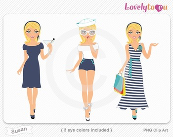 Woman graphics character pack set PNG clip art (Susan R04)