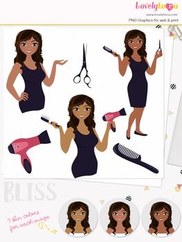 Woman hair stylist character clipart, beauty girl avatar clip art (Bliss L102)