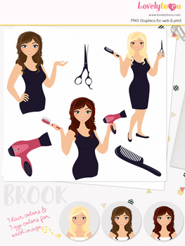 Woman hair stylist character clipart, beauty girl avatar clip art (Brook L101)