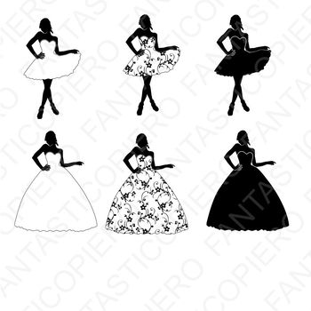 Woman in dress SVG files for Silhouette Cameo and Cricut.