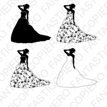 Woman in dress with flowers SVG files for Silhouette Cameo and Cricut.