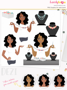 Woman jewelry character clipart, crafts girl avatar clip art (Dezi L170)
