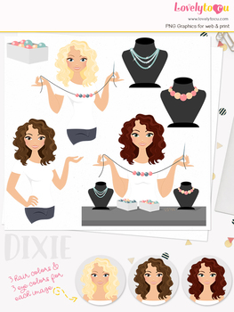 Woman jewelry character clipart, crafts girl clip art (Dixie L169)