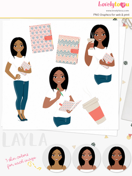 Woman journal character clipart, planner girl avatar clip art (Layla L192)