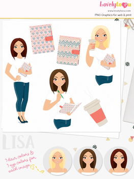 Woman journal character clipart, planner girl clip art (Lisa L191)