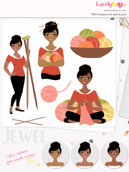 Woman knitting character clipart, crafts girl avatar clip art (Jewel L164)