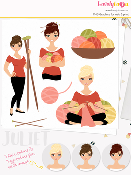 Woman knitting character clipart, crafts girl clip art (Juliet L163)