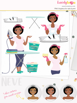 Woman laundry character clipart, cleaning girl avatar clip art (Neve L190)