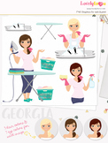 Woman laundry character clipart, cleaning girl clip art (Georgia L189)