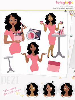 Woman makeup character clipart, beauty girl avatar clip art (Dezi L100)