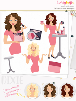 Woman makeup character clipart, beauty girl avatar clip art (Dixie L099)
