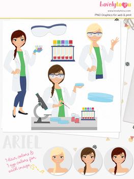 Woman med lab character clipart, nurse girl clip art (Ariel L287)