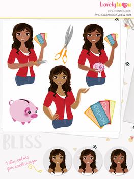 Woman money saver character clipart, finances girl avatar clip art (Bliss L124)