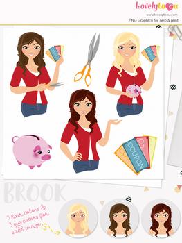 Woman money saver character clipart, finances girl avatar clip art (Brook L123)