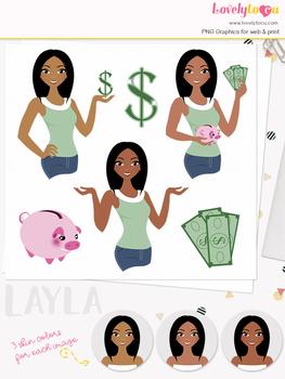 Woman money saver character clipart, finances girl avatar clip art (Layla 122)