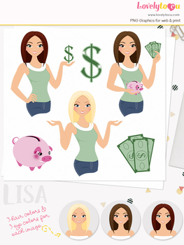 Woman money saver character clipart, finances girl avatar clip art (Lisa L121)