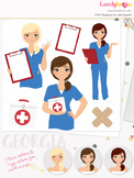 Woman nurse character clipart, girl avatar healthcare clip art (Georgia L067)