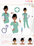 Woman nurse character clipart, girl avatar healthcare clip art (Jewel L066)