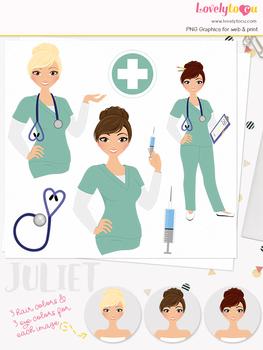 Woman nurse character clipart, girl avatar healthcare clip art (Juliet L065)