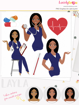 Woman nurse character clipart, girl avatar healthcare clip art (Layla L072)
