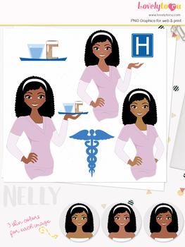 Woman nurse character clipart, girl avatar healthcare clip art (Nelly L070)