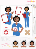 Woman nurse character clipart, girl avatar healthcare clip art (Neve L068)