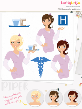 Woman nurse character clipart, girl avatar healthcare clip art (Piper L069)