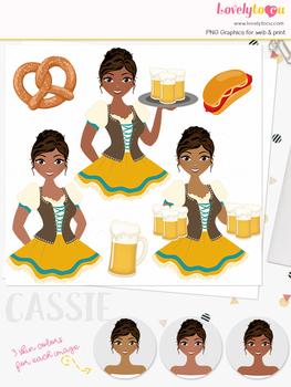 Woman oktoberfest character clipart, beer girl avatar clip art (Cassie L284)
